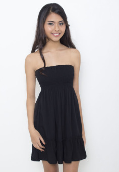 Harga Breezy Smocked Tube Dress (Black)
