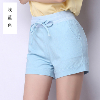White ladies cotton large size sports shorts female summer wild loose tight waist wide leg linen casual shorts pants ([Light blue-bandage paragraph])