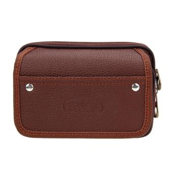 Harga Men PU Leather Wallet Coffee
