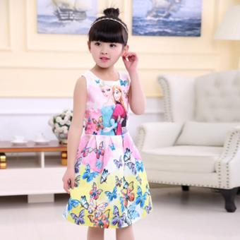 Harga Frozen Baby Kids Children's Girl Butterfly Pink Elsa and Anna Vest Skirt Princess Dress