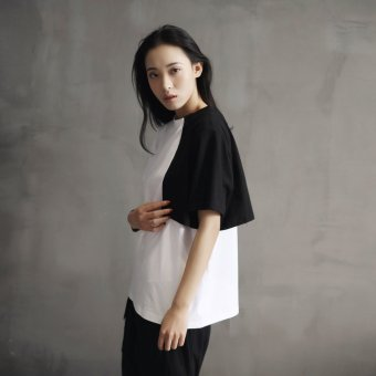 SIMPLE black homemade HONG kong style loose black and white spell color minimalist neutral joker short sleeve t-shirt