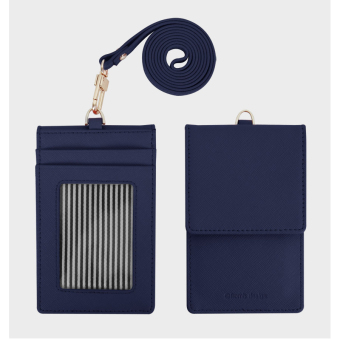 Fromb Genuine Saffiano Cow Leather Mirror Credit & ID Card Holder with Neck Strap (Navy) - intl