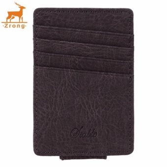 Harga Zrong Men Business Casual Synthetic Leather Wallet Credit Card ID Holder with Magnet Money Clip (Grey) - intl