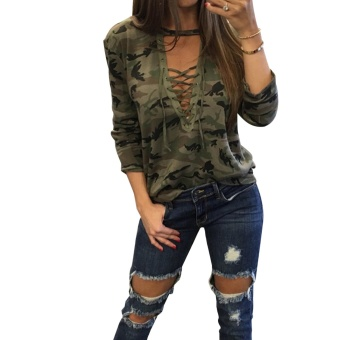 Harga Womens Trendy Camouflage Print Lace Up T-shirt Tops - intl