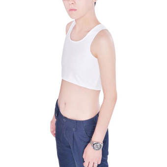 Harga Tomboy Breathable Buckle Short Chest Breast Binder Tank Top Vest White XL
