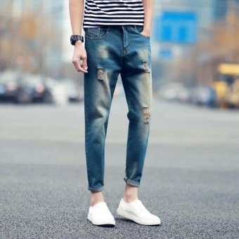 Harga Men's youth trend jeans nine length men's jeans rip design - intl