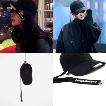 Harga Korean GD The Same Paragraph Concert Tie Belt Black Crooked Baseball Cap(black) - intl