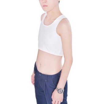 Harga Les Tomboy Women Breathable Buckle Short Chest Breast Binder (White) - intl