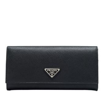 Harga Prada Saffiano Triangle Long Flap Wallet (Nero 1)