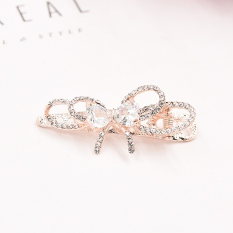 Harga Korean-style simple crystal hairpin Japan and South Korea cross design side clip bangs clip diamond duckbill clip hair accessories head jewelry (Little duck clip-tie love gold)