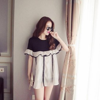 Harga Small Wow Maternity Korean Round Stitching Contrast Color chiffon Loose Above Knee Dress Grey - intl