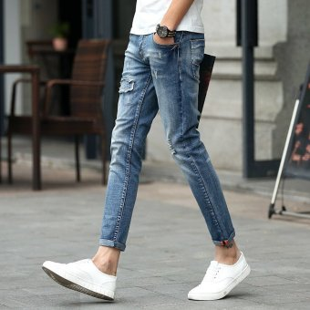 Harga Fashion Men summer stretchy slim Jean Pants 925(Export)