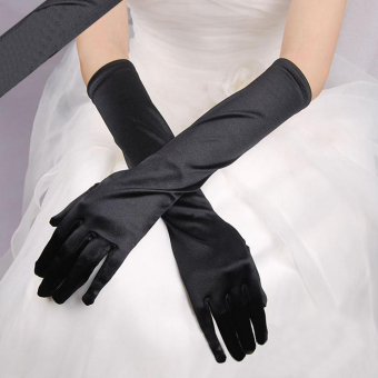 Fashion Satin Long Gloves Opera Wedding Bridal Evening Party Costume Gloves Black - intl