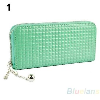 Harga Sanwood Women Fashion Pure Color Faux Leather Clutch Wallet Purse (Green) - intl