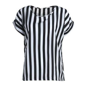 Harga Summer Lady O Collar Stripe T Loose Short Sleeve Chiffon Blouse (S) - intl