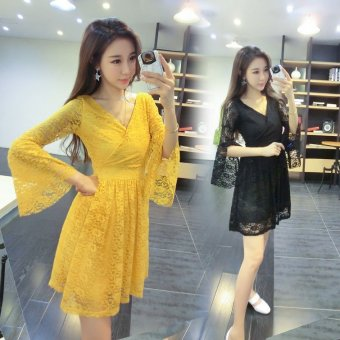 2016 summer korean version of the new nightclub ladies sexy lace deep v-neck short sleeve waist big skirt dress tide (Yellow)