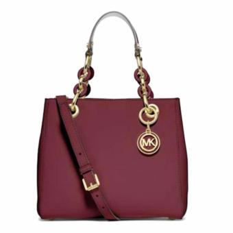 Harga Michael Kors Cynthia Small North South Leather Satchel 30H5GCYS1L cherry