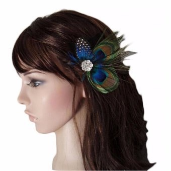 Harga Baby Hair Clips Peacock Feather Hair Clip Pin f Girls Brides Bridesmaids - intl