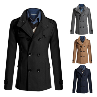 Men's Fashion Coat Double Breasted Woolen Trench Coat Slim and Long Sections Winter Jackets (Black) - intl