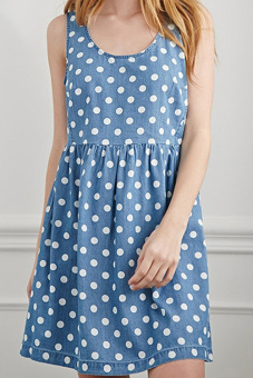 Harga CatWalk New Stylish Lady Women's O-Neck Sleeveless Polka Dot Loose Cute Dress S-XL (Blue)