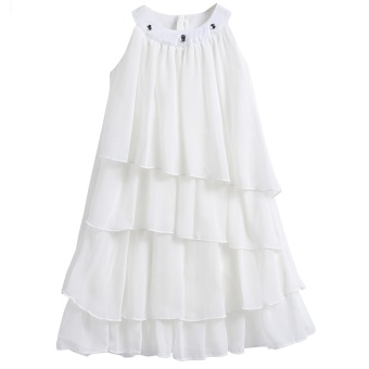 Harga Kids Girls Sleeveless Solid Multi-Layers Pleated Chiffon Cupcake Dress White - intl