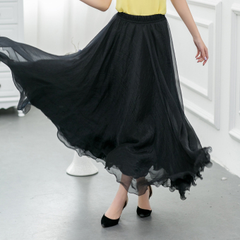 Harga 2016 korean version of the spring and summer pleated skirt mopping the floor 8 m super long chiffon dress put on a large bust skirt dance (Black)
