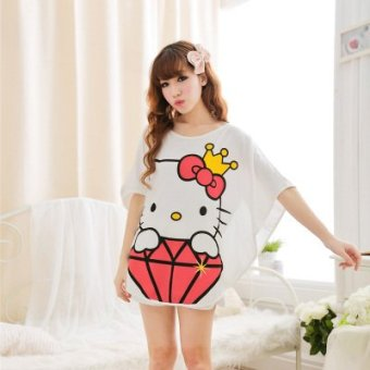 Harga Modal pajamas female cartoon kt cat summer girlfriends tracksuit female models bat shirt shorts suit (Diamond kt cat)