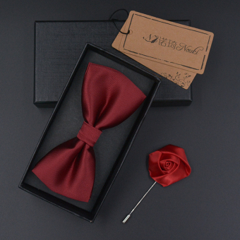 Harga Korean version of the british men's bow tie groom groomsmen wedding dress business casual glossy black bow tie (1200 needle burgundy tie to send (gift box + brooch))
