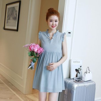 Harga Small Wow Maternity Elegant V-neck Solid Color chiffon Loose Above Knee Dress Blue - intl