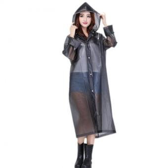 Harga Lightweight Transparent Poncho Raincoat with Hood M (black)