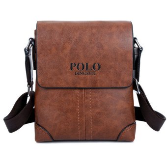 Harga Men Cowhide Leather Crossbody Bag Shoulder Bag Messenger Bag Portable Briefcase Business Casual Tote Bag(Brown)
