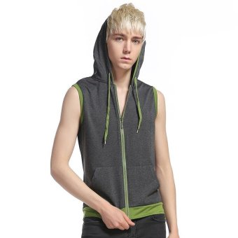 Summer Men's Fashion Pullover Hoodies Sleeveless Casual T-shirt Vest (Grey) - intl
