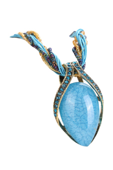Moonar Women Turquoise Rhinestone Water Rain Drop Pendant Necklace (Sky Blue) (EXPORT)