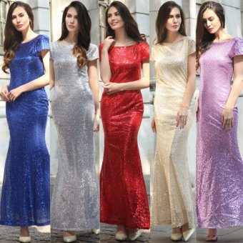 Harga VENFLON Women Elegant Bridesmaid Wedding Sequin Mermaid Long dress Ladies Evening Party Backless Maxi dress Gown High Quality Plus Size (Blue) - intl
