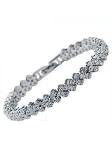 Blue lans Clear Zircon Bangle Rhinestone Chain Bracelet (Silver)