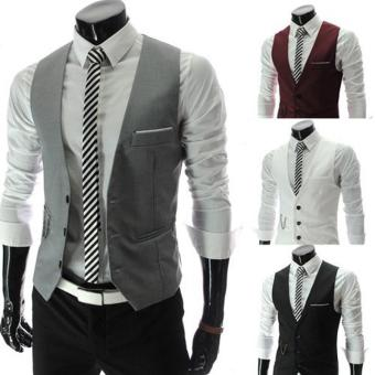 Harga 2016 New Arrival Dress Vests For Men Slim Fit Mens Suit Vest(Grey) - intl