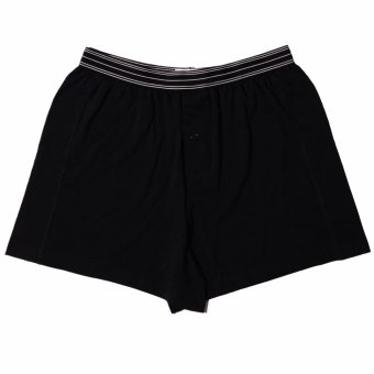 Harga Europe and the united states men's underwear cotton boxers underpants men's solid color cotton breathable and comfortable pants (Black a paragraph (aro pants))