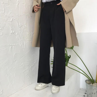 Harga Hong kong flavor chic suit nine points pants female korean loose straight casual trousers flared trousers student pants wild mopping the floor (Black)