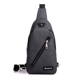 Harga HOLA Men's Canvas Outdoor Cross-body Shoulder Backpack Chest Bag(Black) - intl