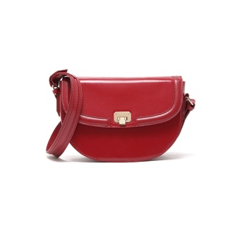 Harga Mango Retro Trend Red Simple Pu Leather Sling Bag