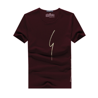 Thorens gilt letters printed short sleeve t-shirt men summer japanese harajuku ethnic youth t-shirt black (2018 wine red)