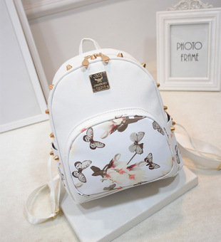 Harga New korean fashion butterfly flower shoulder bag female rivets trend minimalist college wind schoolbag backpack (White)