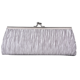 Women Satin Crystal Clutch Party Wedding Purse Soft Evening Bag Bridal Handbag Silver