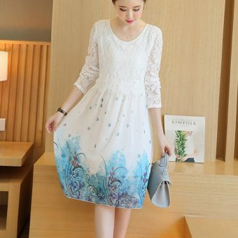 Harga Small Wow Maternity Korean Round Print chiffon Loose Above Knee Dress White - intl