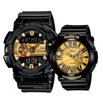 Harga Casio G-Shock and Baby-G Couple Black Resin Strap Watch GBA-400-1A9 & BGA-160-1B