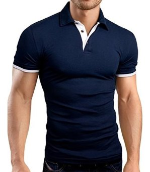 Harga Men's Fashion Slim Fit Contrast Polo Shirt Polo Tee Tops