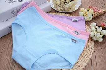 Harga 5 pcs/comfortable soft Briefs candy color cotton Panties - intl