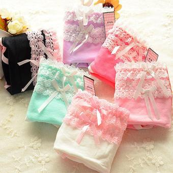 Harga 6 pcs/Girl lovely nylon lace briefs cotton breathable​ panties - intl