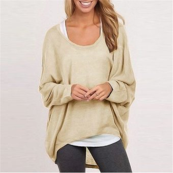 Harga 2016 autumn winter sexy o-neck sweater ladies loose sweaters (Deep khaki deep khaki)