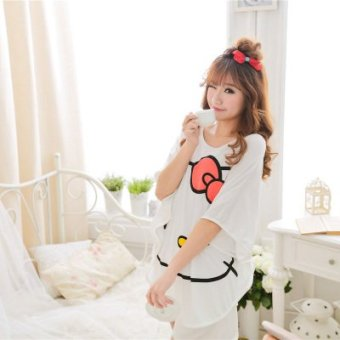 Harga Modal pajamas female cartoon kt cat summer girlfriends tracksuit female models bat shirt shorts suit (Simple kt cat)